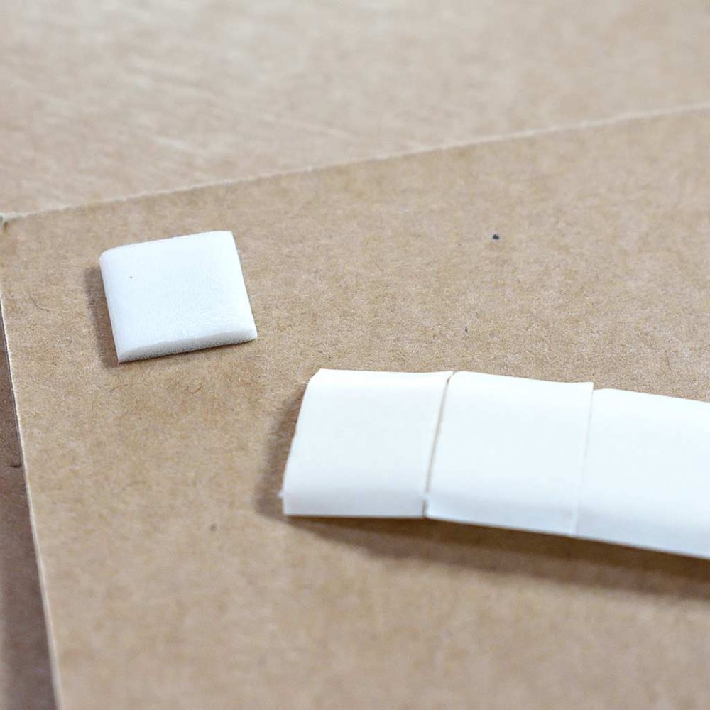 Double Sided Self Adhesive White Foam Pads 12mmx12mmx1mm - 100 Pack